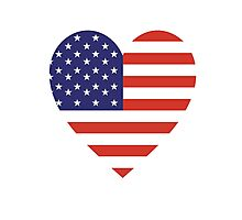American Flag, USA, Heart, Stars & Stripes, Pure & Simple, Americana, America Photographic Print