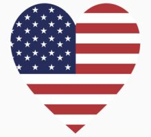 American Flag, USA, Heart, Stars & Stripes, Pure & Simple, Americana, America by TOM HILL - Designer