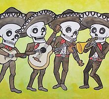 Mariachi Calacas Greeting Card by mertalou