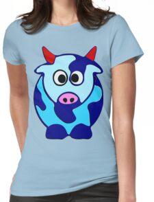 ღ°㋡Cute Brindled Cow with Red Horns Clothing & Stickers㋡ღ° Womens Fitted T-Shirt