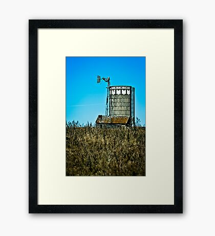 abandoned rural farm windmill Framed Print