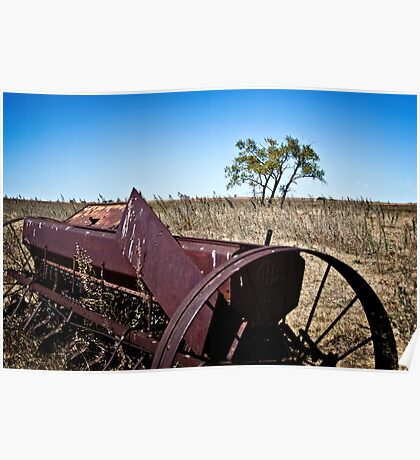 abandoned rural farm equipment Poster