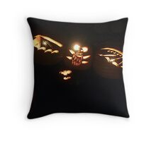 A Bat Comes Flying By!  No.. these are carved pumpkins hanging in a tree! Throw Pillow