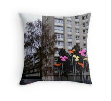 High Rise Flowers Throw Pillow