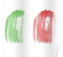 Brush Flag of Mexico Poster