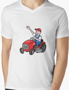 Farmer Driving Ride On Mower Tractor Mens V-Neck T-Shirt