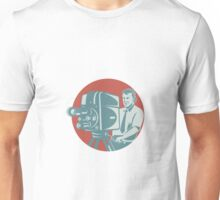Cameraman Filming With Vintage TV Camera Unisex T-Shirt