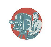 Cameraman Filming With Vintage TV Camera by patrimonio
