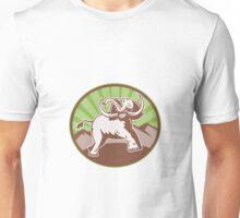 Elephant Giant Tusk Side Retro Circle Unisex T-Shirt