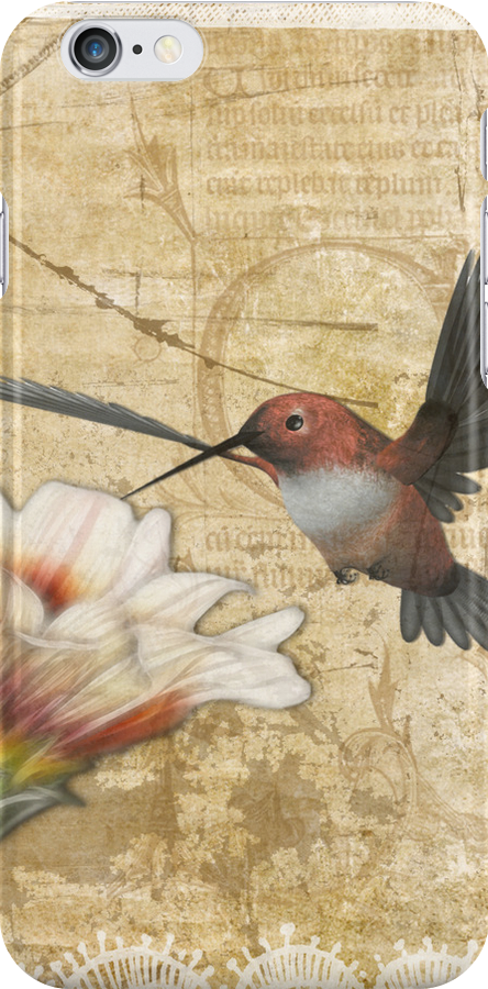 Hummingbird and Wildlflower iPhone Case by Lesley Smitheringale
