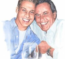 Son and departed dad watercolor by Mike Theuer