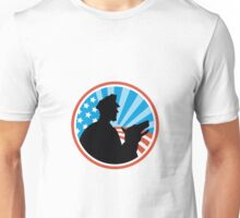 Policeman Security Guard With Police Dog Retro Unisex T-Shirt