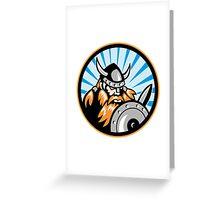 Viking Raider Barbarian Warrior Retro Greeting Card