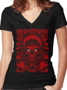 Chief Indian Skull Women's Fitted V-Neck T-Shirt