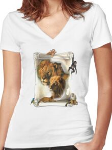 The Lion King of Africa Women's Fitted V-Neck T-Shirt