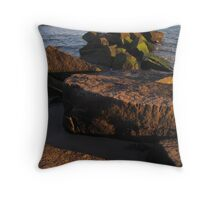 Rocks and Coney Island Pier at Sunset Throw Pillow