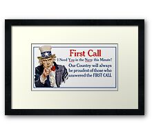 I Need You In The Navy -- Uncle Sam Framed Print