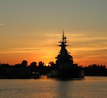 Battleship At Sunset by Cynthia48