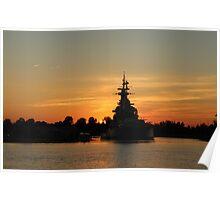 Battleship At Sunset Poster