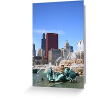 Chicago Skyline and Buckingham Fountain Greeting Card