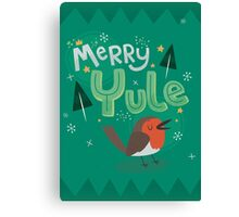 Merry Yule Robin Card Canvas Print