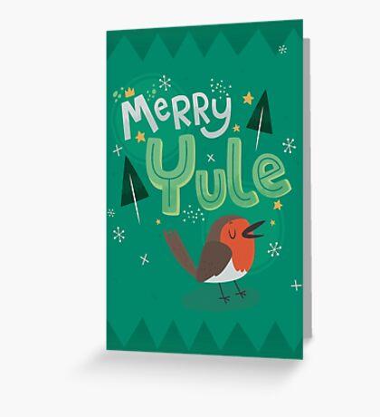 Merry Yule Robin Card Greeting Card