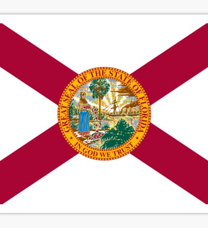 FLORIDA, American Flags, FLAG OF FLORIDA, Florida Flag, Pure & Simple, on Yellow Sticker