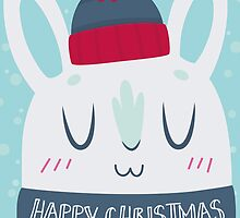 Cozy Winter Rabbit Christmas Card by Claire Stamper