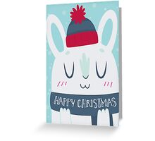 Cozy Winter Rabbit Christmas Card Greeting Card