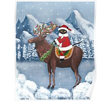 Merry Christmas Cat and Moose  Poster