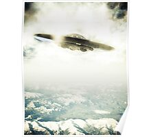 UFO Over Mountains Poster