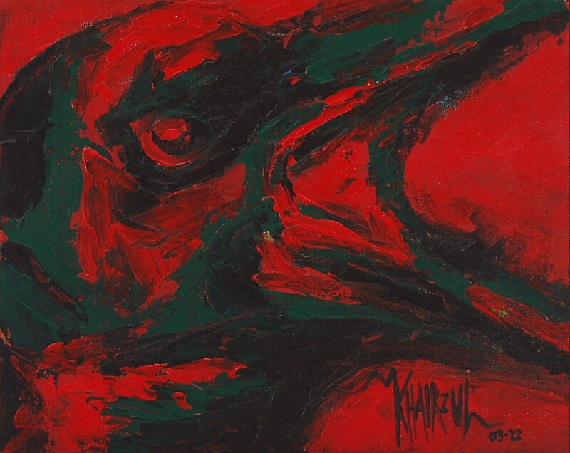 Angry bird crow painting photographic prints by for Angry bird mural