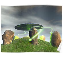 UFO and Ancient Stone Circle Poster