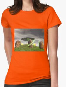 UFO and Ancient Stone Circle Womens Fitted T-Shirt