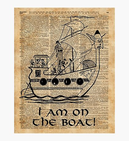 Boat Expedition,Ship Excursion,Music Crew,Vintage Ink Dictionary Art Photographic Print