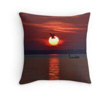 Sunset Fishing Throw Pillow