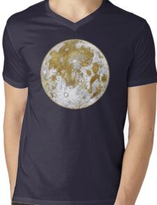 Golden Moon Pattern Mens V-Neck T-Shirt