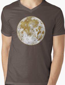 Golden Moon Pattern Mens V-Neck T-Shirt