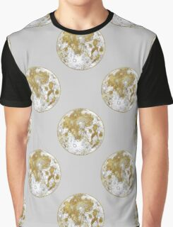 Golden Moon Pattern Graphic T-Shirt