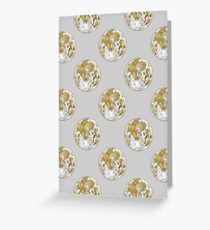 Golden Moon Pattern Greeting Card