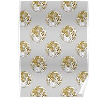 Golden Moon Pattern Poster