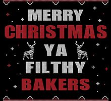 Merry Christmas Ya Filthy Bakers Ugly Christmas Printed Costume. by aestheticarts