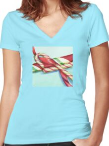 Candy Canes Women's Fitted V-Neck T-Shirt