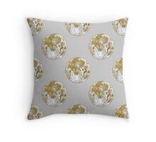Golden Moon Pattern Throw Pillow
