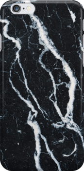 Black marble iphone case by mikath