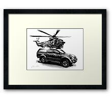 Rescue Chopper and Truck Framed Print