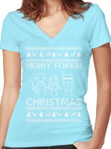 Chappie Christmas Women's Fitted V-Neck T-Shirt