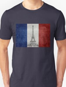 Vintage national flag of France with Eiffel Tower insert T-Shirt