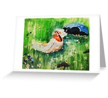 Lounging amongst the flowers, watercolor Greeting Card