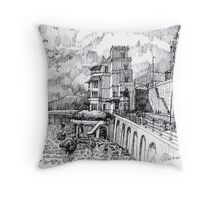 Castello sul mare B&W Throw Pillow